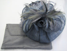 Load image into Gallery viewer, Handcrafted air force blue  fascinator with bow rose and feathers on a hair band