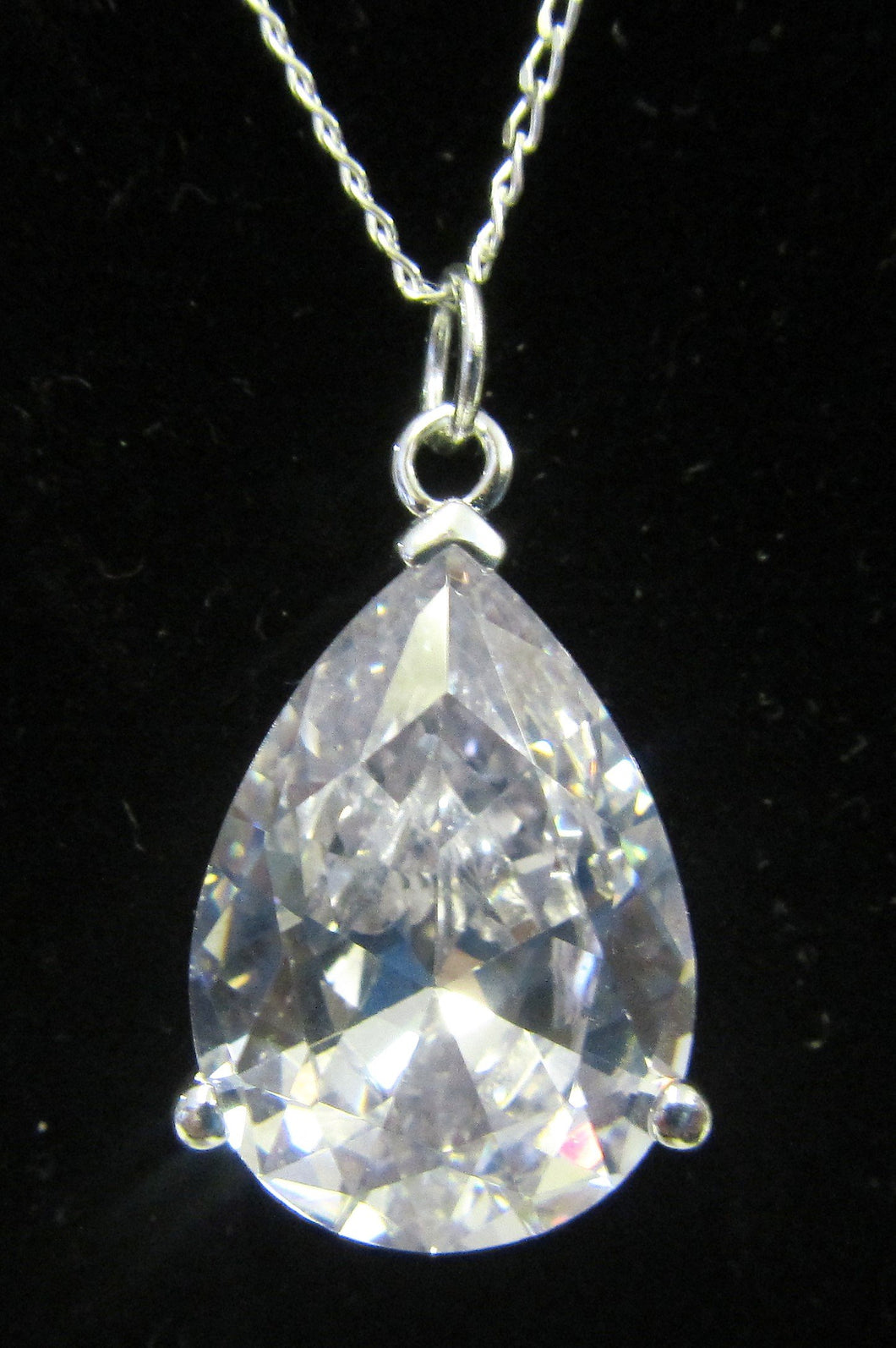 Handcrafted 925 sterling silver necklace large cubic zirconia drop pendant