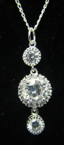 Handcrafted 925 sterling silver necklace with cubic zirconia drop pendant