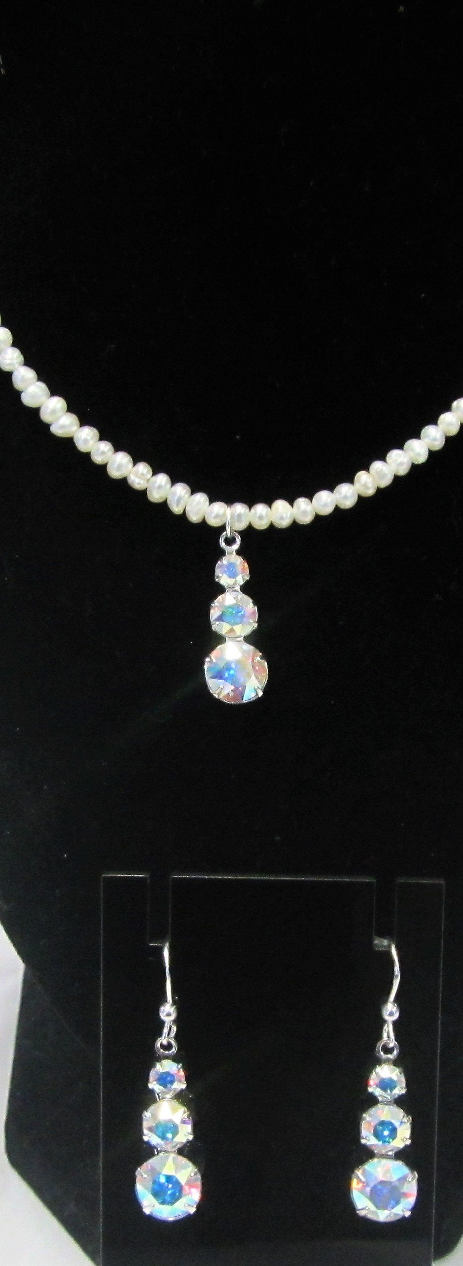 Handcrafted Swarovski crystal drops and small pearl 925 sterling Jewellery set