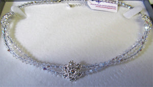 Handcrafted Swarovski crystal and rhinestone flower 925 sterling choker