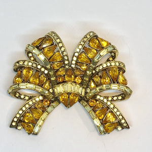 HOLLYCRAFT Copywright 1957 Gold Plated Amber Diamante Brooch
