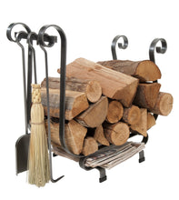 Load image into Gallery viewer, Handcrafted Sleigh Log Rack w Tools