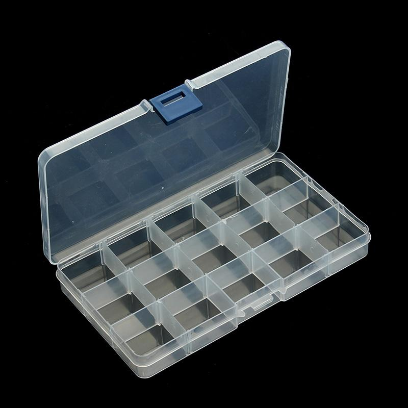 Plastic 15 Slots Jewelry( Adjustable) Tool Box Case Craft Organizer carrying cases Storage Beads jewelry finding boxes F2414