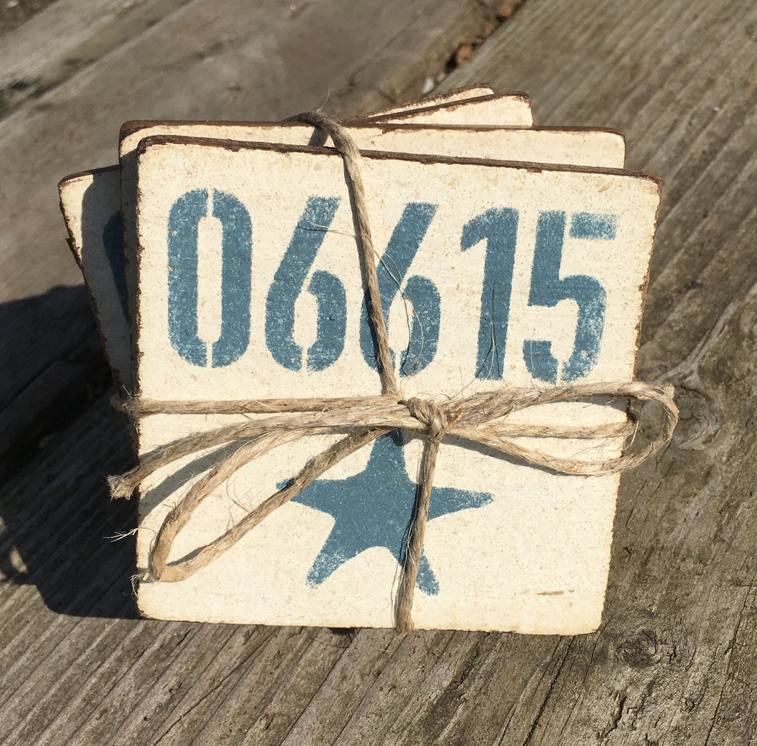 Handcrafted Rustic Wood Starfish Coaster Set of 4