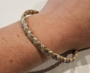 Handcrafted Small Thin Striped Weave Lauhala Bracelet, Keiki Size