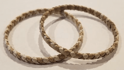 Handcrafted Small Thin Striped Weave Lauhala Bracelet