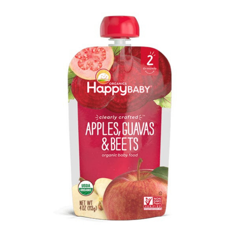 Happy Family Happy Baby Stage 2 Clearly Crafted - Apples Guavas & Beets, 113 g.