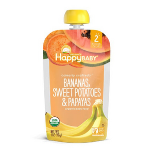 Happy Family Happy Baby Stage 2 Clearly Crafted - Bananas Sweet Potatoes & Papaya, 113 g.