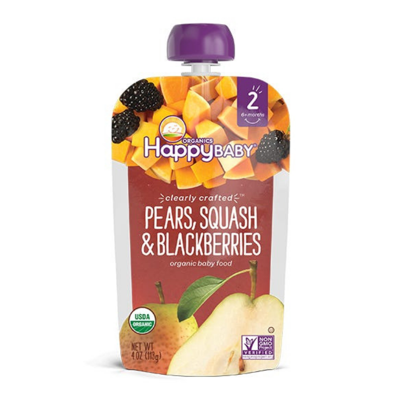 Happy Family Happy Baby Stage 2 Clearly Crafted - Pears Squash & Blackberries, 113 g.