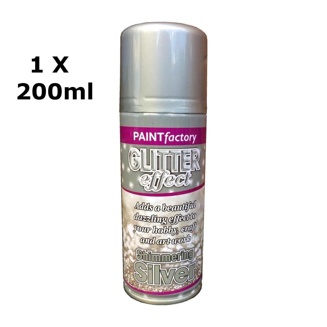 Glitter Effect Spray Paint Decorate Craft Art Colour For Wood Metal Plastic 200ML[Silver,1 x 200ml]