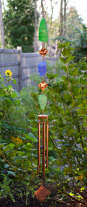 Large Glass and Copper Outdoor Hancrafted Wind Chimes