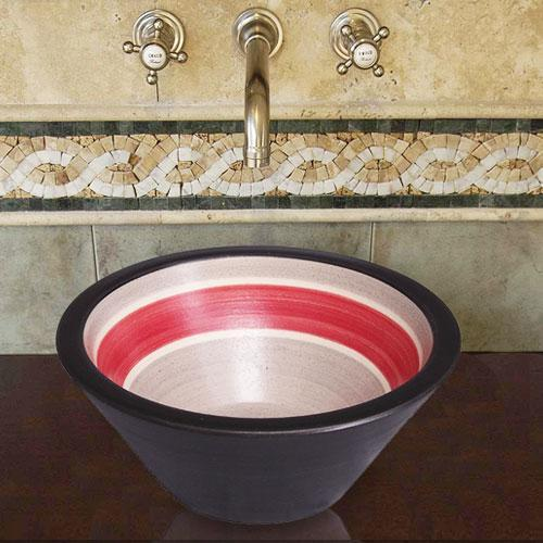 Handcrafted Conical Ceramic Vessel Sink - Striped Black