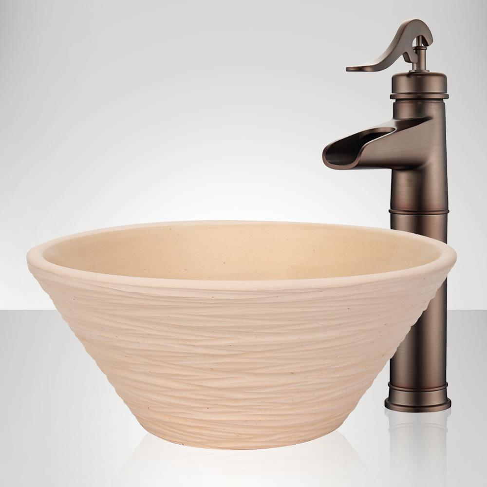 Handcrafted Wave Conical Ceramic Vessel Sink - Ivory
