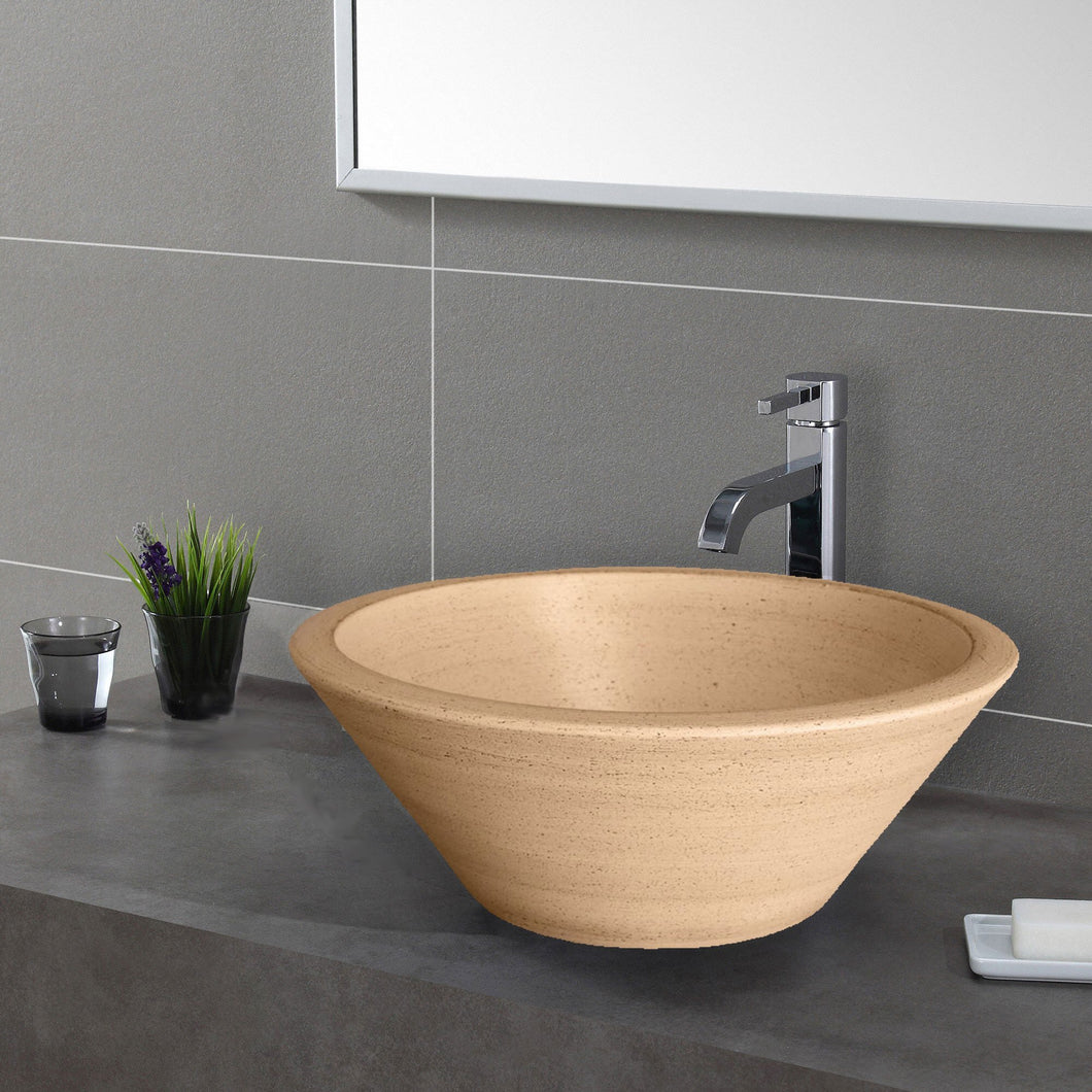 Handcrafted Conical Ceramic Vessel Sink - Beige