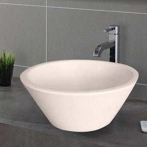 Handcrafted Conical Ceramic Vessel Sink - Ivory