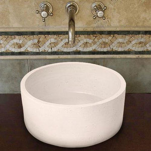 Handcrafted Cylindrical Ceramic Vessel Sink - Ivory