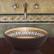 Load image into Gallery viewer, Handcrafted Round Ceramic Vessel Sink - Decorated Brown