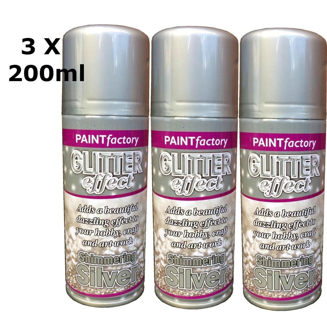 Glitter Effect Spray Paint Decorate Craft Art Colour For Wood Metal Plastic 200ML[Silver,3 x 200ml]