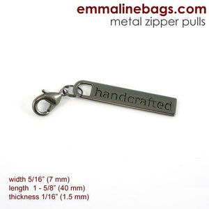 "Zipper Pull ""handcrafted"" Gunmetal Finish Emmaline Bags"