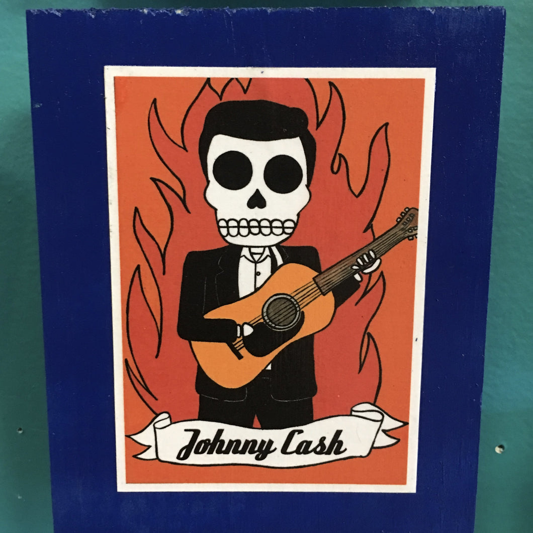 Johnny Cash Dia de Muertos handcrafted pop art frame by Ninoska Arte