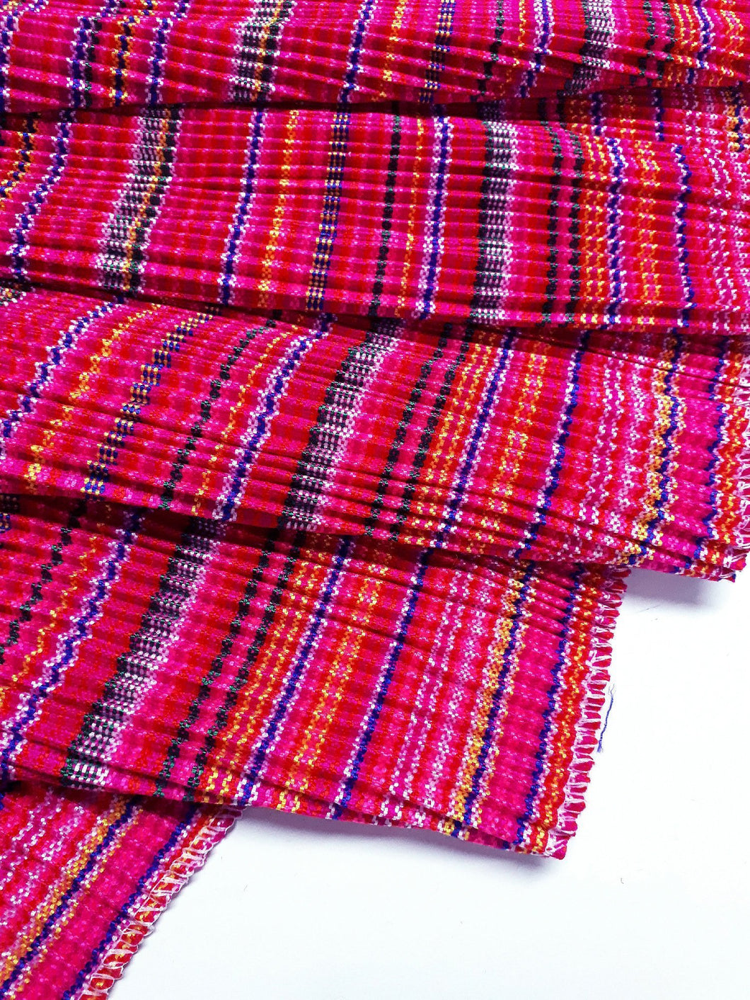 Hmong Fabric Colorful Pleat Fabric Fabric by the yard Hill Tribe Fabric Craft Supplies Woven Textile Vintage Cotton Tribal Fabric 1/2 yard Pink HP1