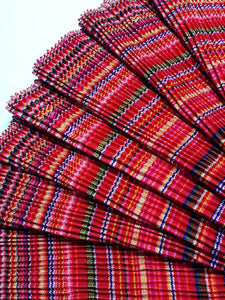Hmong Fabric Colorful Pleat Fabric Fabric by the yard Hill Tribe Fabric Craft Supplies Woven Textile Vintage Cotton Tribal Fabric 1/2 yard Orange HP2