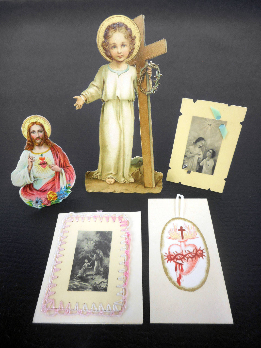Lot of 5 Antique 1920's French Standalone Holly Cards Crafts, Handmade, Sacred Heart, Jesus Child Holding Cross and Crown of Thorns