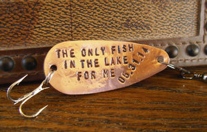 Lake Fishing Lure Lakeside Retreat Mancave Room Decor Handcrafted Spoon Lure Custom Metal Spinner Copper Brass Bronze Stainless Steel Mens