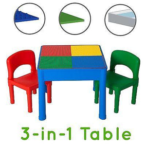 Kids Activity Table Set - 3 in 1 Water Table, Craft Table w Building Bricks