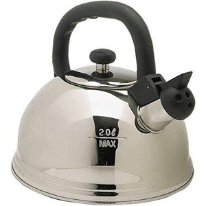 Kitchen Craft 2 Litre Whistling Kettle, Stainless Steel, Silver, 9 x 12 x 16 cm