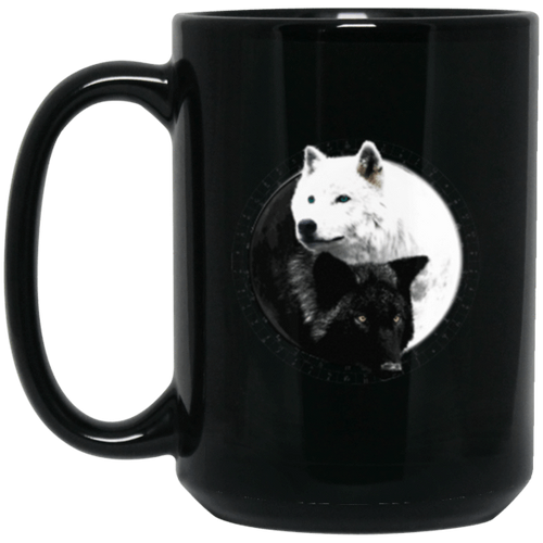 Yin Yang Wolf Inspired by Witchcraft & Wicca 11 oz. or 15 oz. Black Mug