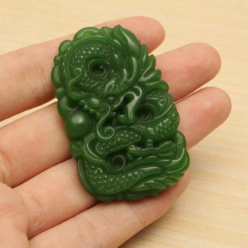 Jade Carved Chinese Dragon Gemstone Pendant