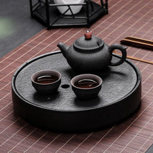 Load image into Gallery viewer, Japanese Black Stone Ceramic Tea Trays