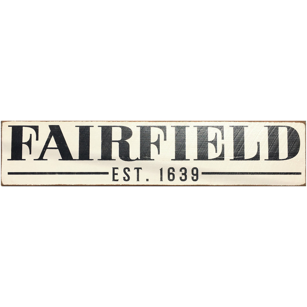 Handcrafted Barn Board Wood Sign - Fairfield Est. 1639 - 44-in