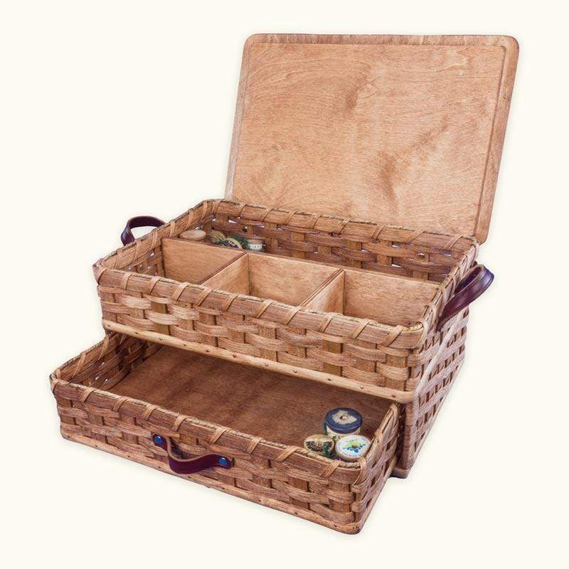 Large Amish Sewing and Craft Basket Organizer Box with Drawer