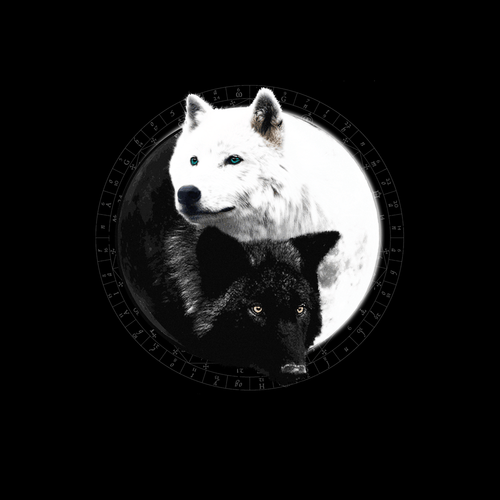 Yin Yang Wolf Inspired by Witchcraft & Wicca - Womens - Tshirt - Small to 3XL