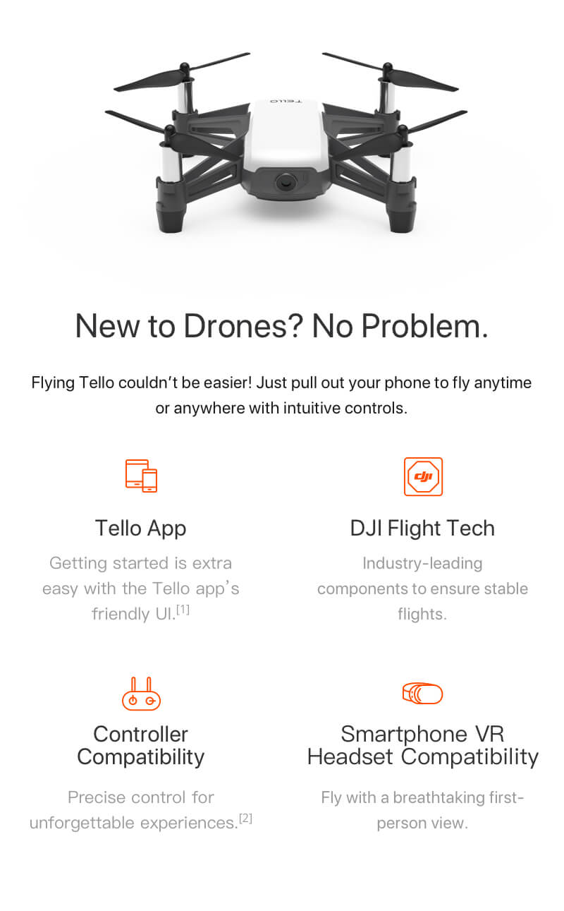 Powered By DJI Tello Mini Drone Quadcopter 5MP Photos / 720P Video CP.PT.00000252.01