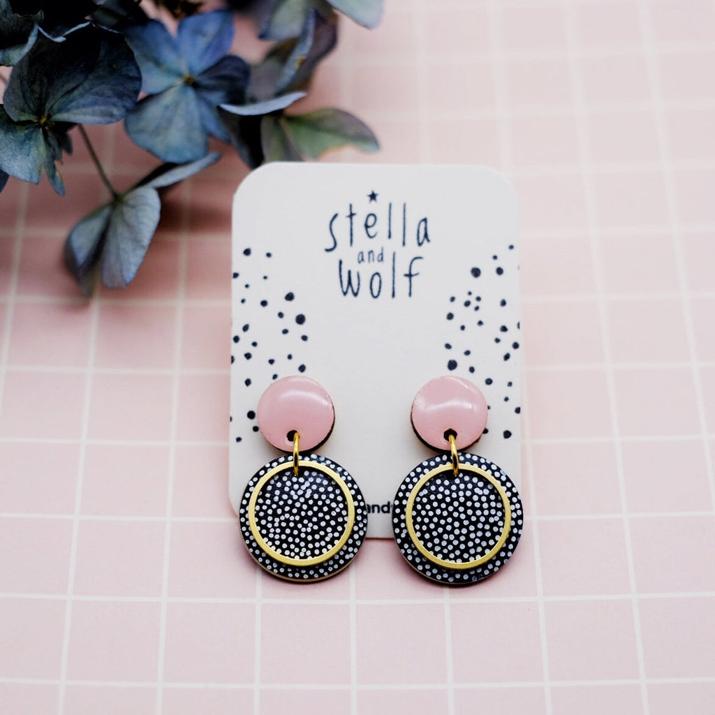 stella and wold wooden painted earrings