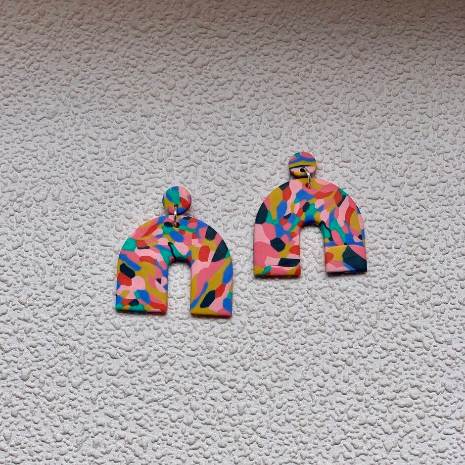 brazen prints colourful polymer clay earrings