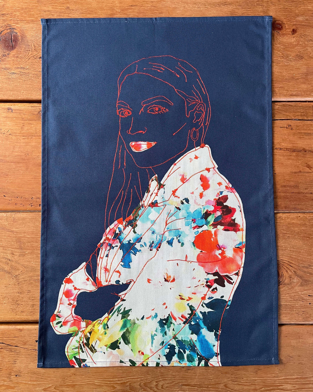'AOC' NAVY BLUE TEA TOWEL