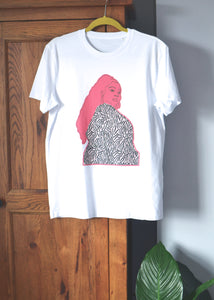 white cotton t-shirt with print of an embroidered artwork of Lizzo