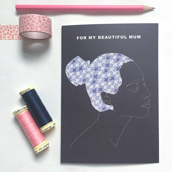 BEAUTIFUL MUM CARD - NAVY