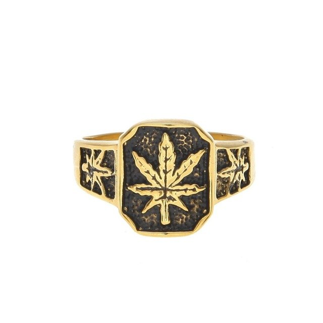 Hip Hop Punk Style Women Men Gold Color Black Oil Maple Leaf Weed Rings Jewelry Gifts Hemp Stainless steel Party Ring
