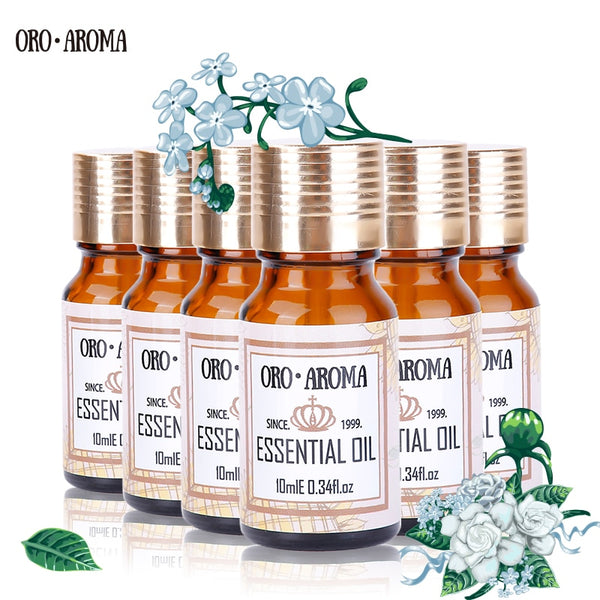 Famous brand oroaroma Jasmine Grapefruit Helichrysum Castor Hemp Seed Evening Primrose Essential Oils Pack For Spa Bath 10ml*6