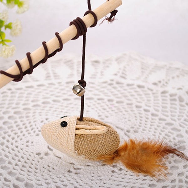 Wooden Pole Hemp Mice Mouse Tease Cats Rods Plaything Environmental Fashion Funny High Quality Pet Toys