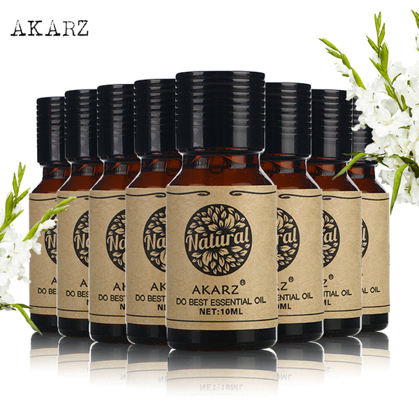 AKARZ Famous brand value meals Patchouli Eucalyptus lemon grass Basil Clary Sage Myrrh Hazelnut Hemp seed essential oil 10ml*8