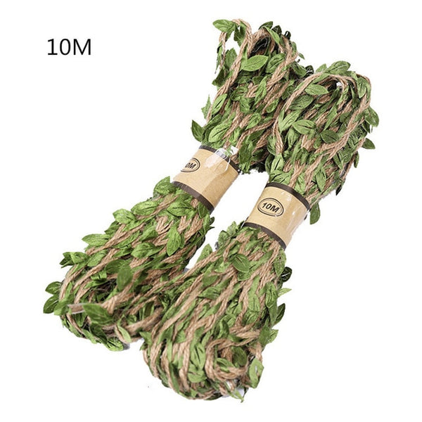 YIBO 5M/10M green leaf hemp rope wedding party decoration linen rope photo wall jewelry hemp rope flower packaging accessories