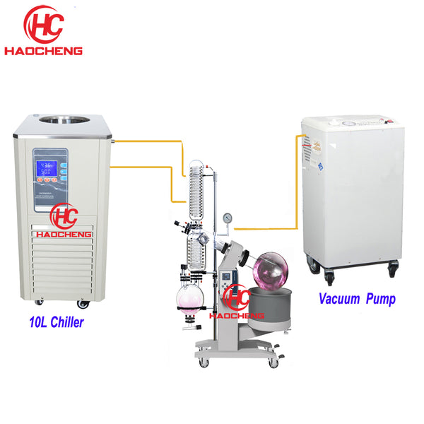 Free shipping 10L Electrical Lift Hemp Oil Distillatio Solvent Lab Rotovap with Chiller and Pump