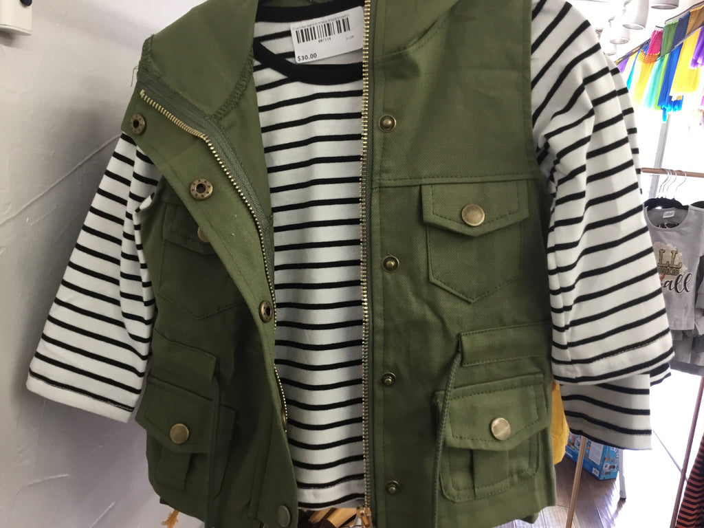 Olive Green Vest With White and Black Striped LS